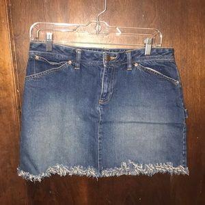 Frayed Hem Denim Mini Skirt